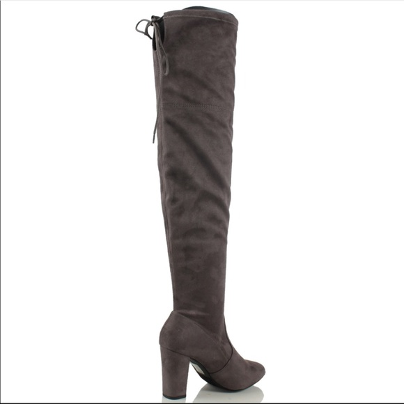 ff1f1d851f8 Gray Faux Suede Knee High Boots